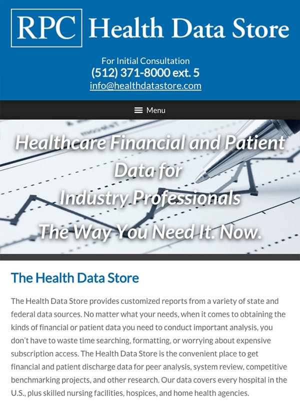 Mobile Friendly Law Firm Webiste for RPC Health Data Store