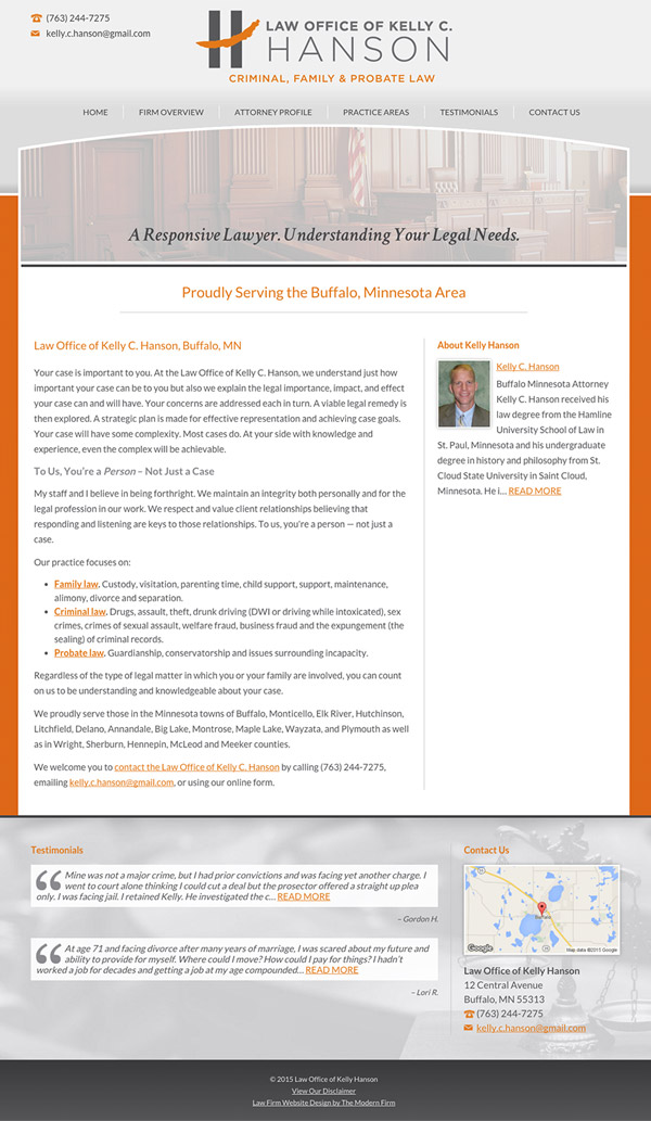 Law Firm Website for Law Office of Kelly C. Hanson