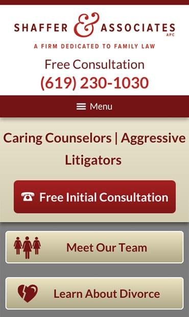 Responsive Mobile Attorney Website for Shaffer & Associates APC