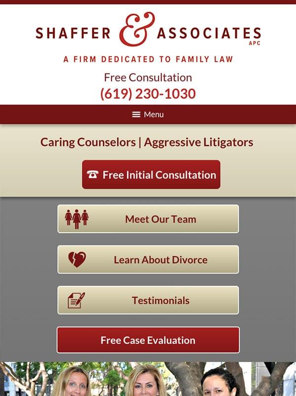 Mobile Friendly Law Firm Webiste for Shaffer & Associates APC