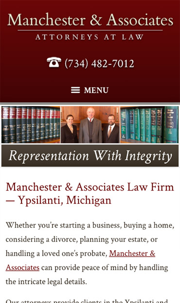 Responsive Mobile Attorney Website for Manchester & Associates