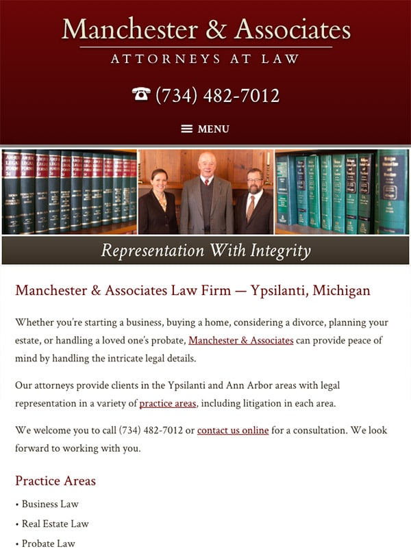 Mobile Friendly Law Firm Webiste for Manchester & Associates
