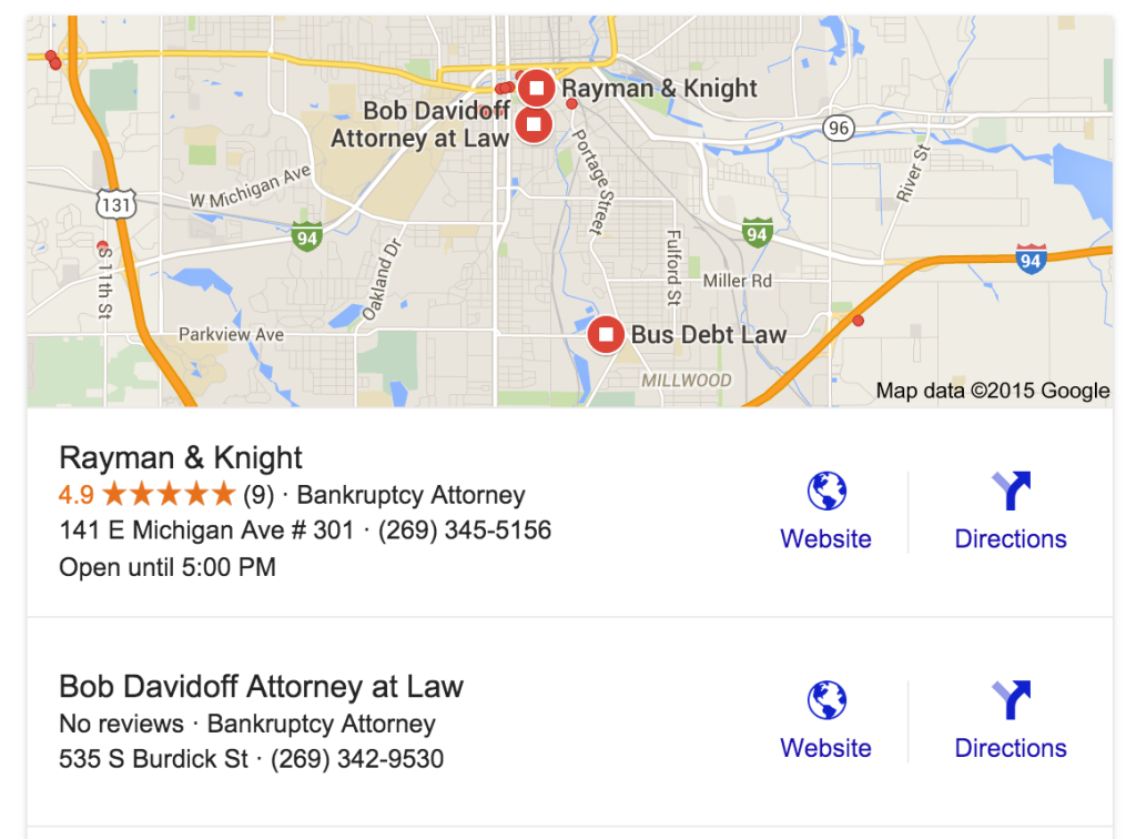 Online Reviews in Google Search Results