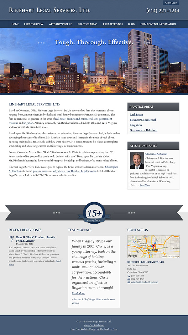 Law Firm Website Design for Rinehart Legal Services, Ltd.