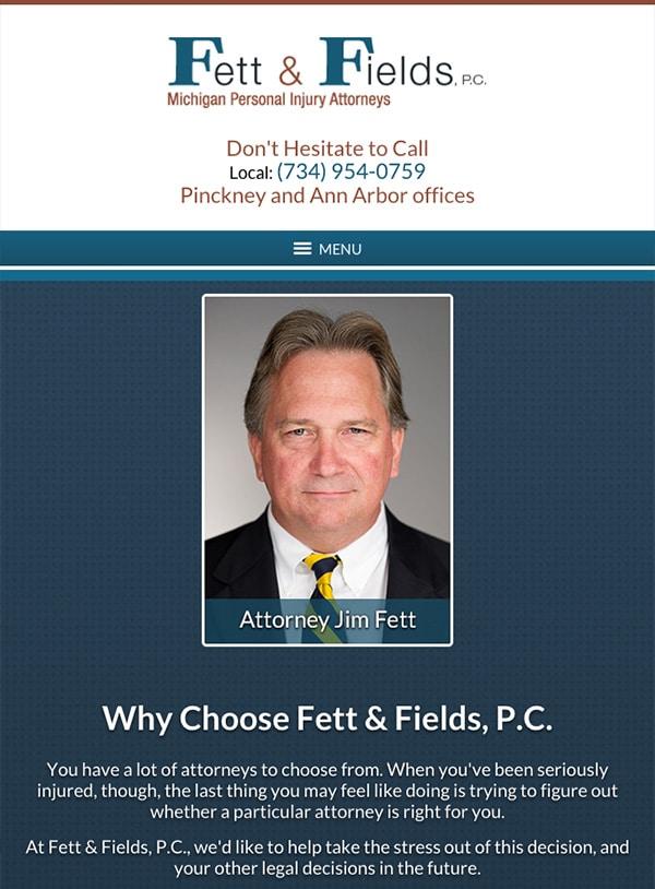 Mobile Friendly Law Firm Webiste for Fett & Fields, P.C.