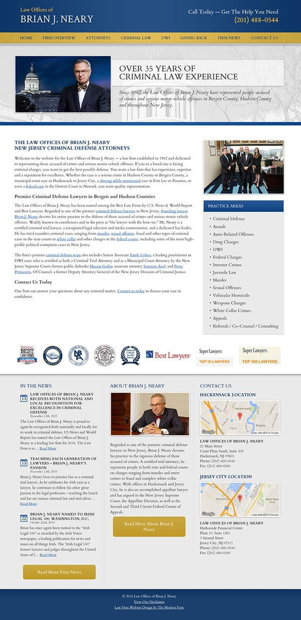 Law Firm Website Design for Law Offices of Brian J. Neary
