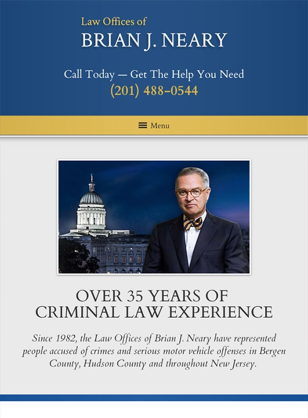 Mobile Friendly Law Firm Webiste for Law Offices of Brian J. Neary
