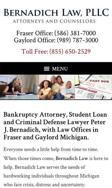 Responsive Mobile Attorney Website for Bernadich Law, PLLC