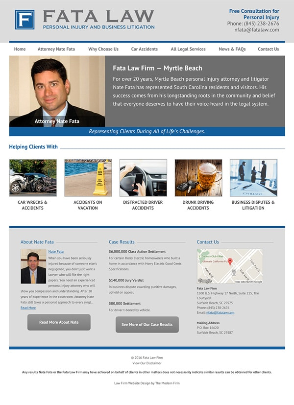 Myrtle Beach SC Attorney Website Design