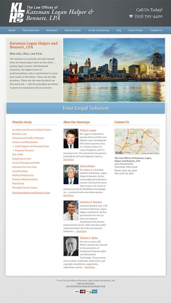 Law Firm Website Design for The Law Offices of Katzman, Logan, Halper and Bennett, LPA