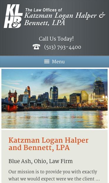 Responsive Mobile Attorney Website for The Law Offices of Katzman, Logan, Halper and Bennett, LPA