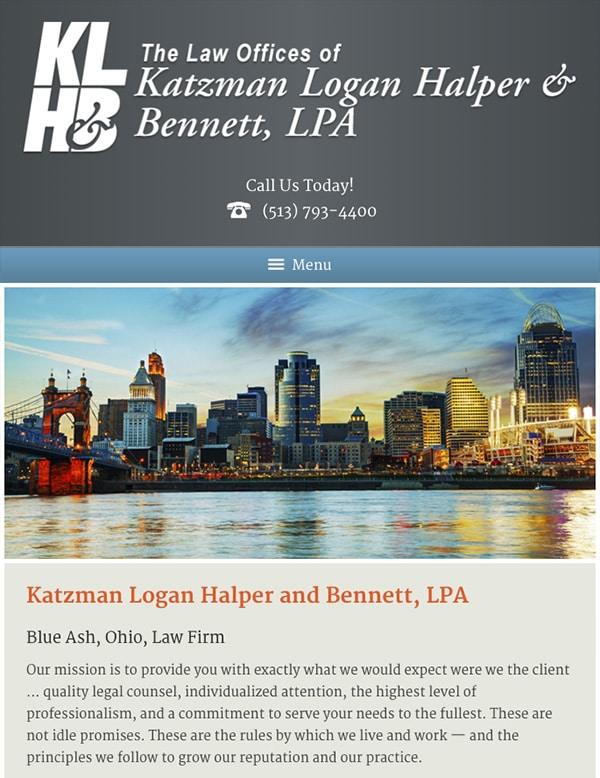 Mobile Friendly Law Firm Webiste for The Law Offices of Katzman, Logan, Halper and Bennett, LPA