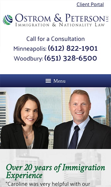 Responsive Mobile Attorney Website for Ostrom & Peterson LLC
