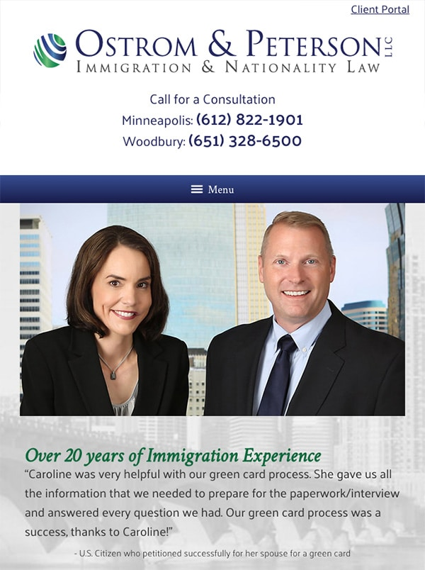 Mobile Friendly Law Firm Webiste for Ostrom & Peterson LLC