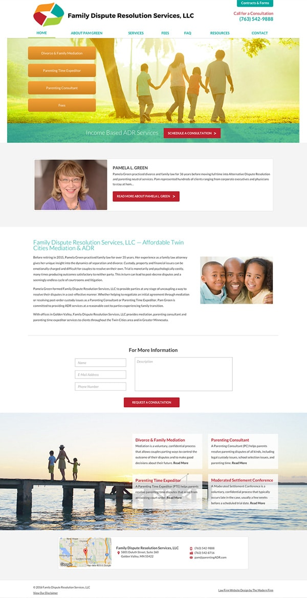 Law Firm Website Design for Family Dispute Resolution Services, LLC