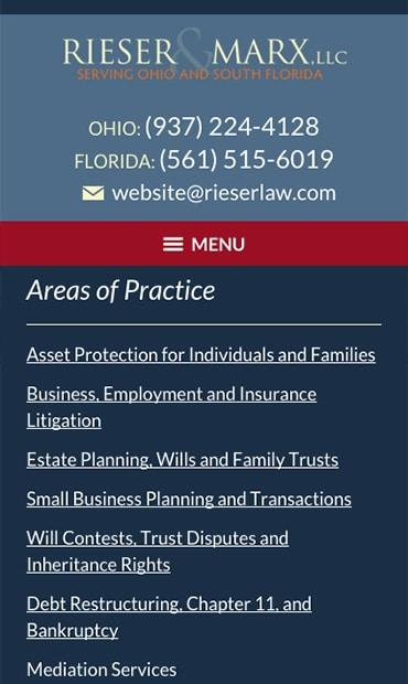 Responsive Mobile Attorney Website for Rieser & Marx, LLC