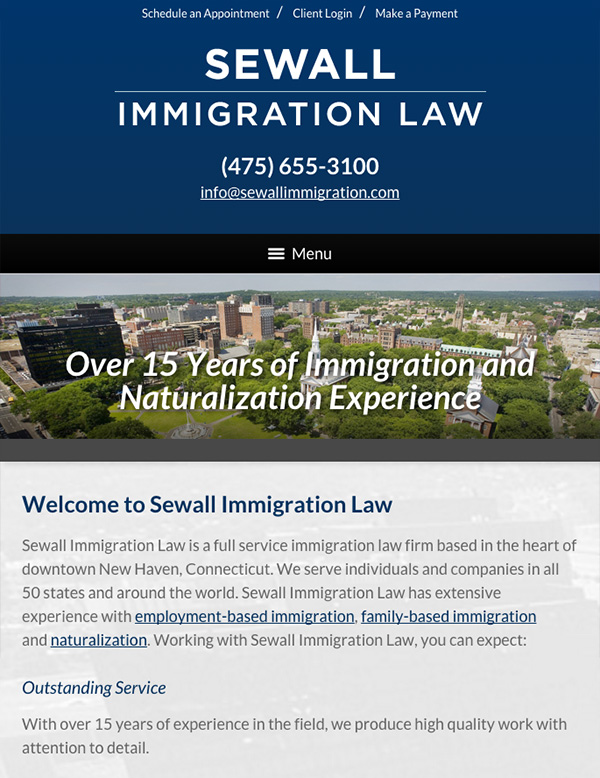 Mobile Friendly Law Firm Webiste for Sewall Immigration Law