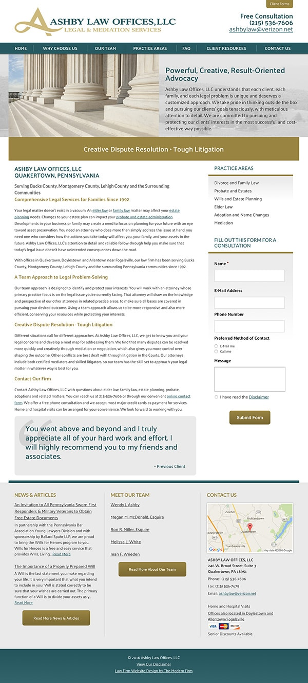 Law Firm Website Design for Ashby Law Offices, LLC