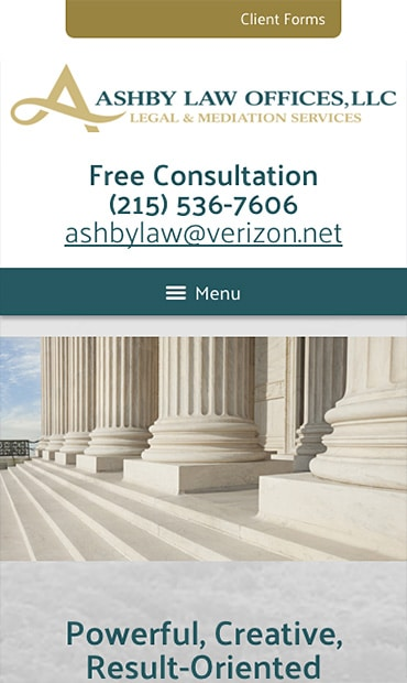 Responsive Mobile Attorney Website for Ashby Law Offices, LLC
