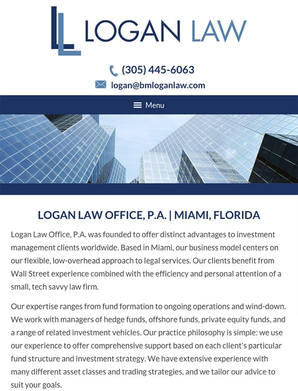 Mobile Friendly Law Firm Webiste for Logan Law Office, P.A.