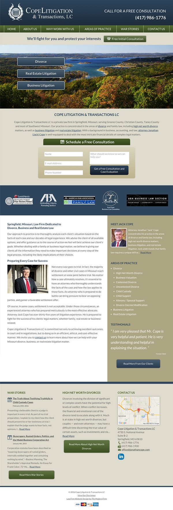 Law Firm Website Design for Cope Litigation & Transactions, LC