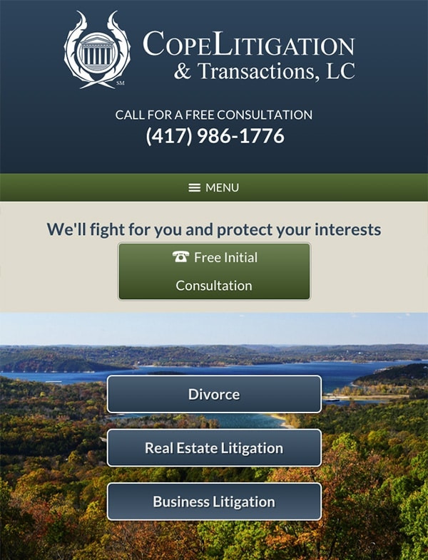Mobile Friendly Law Firm Webiste for Cope Litigation & Transactions, LC