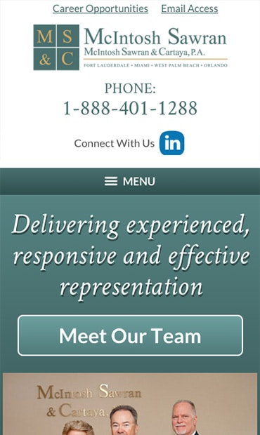 Responsive Mobile Attorney Website for McIntosh Sawran & Cartaya, P.A.