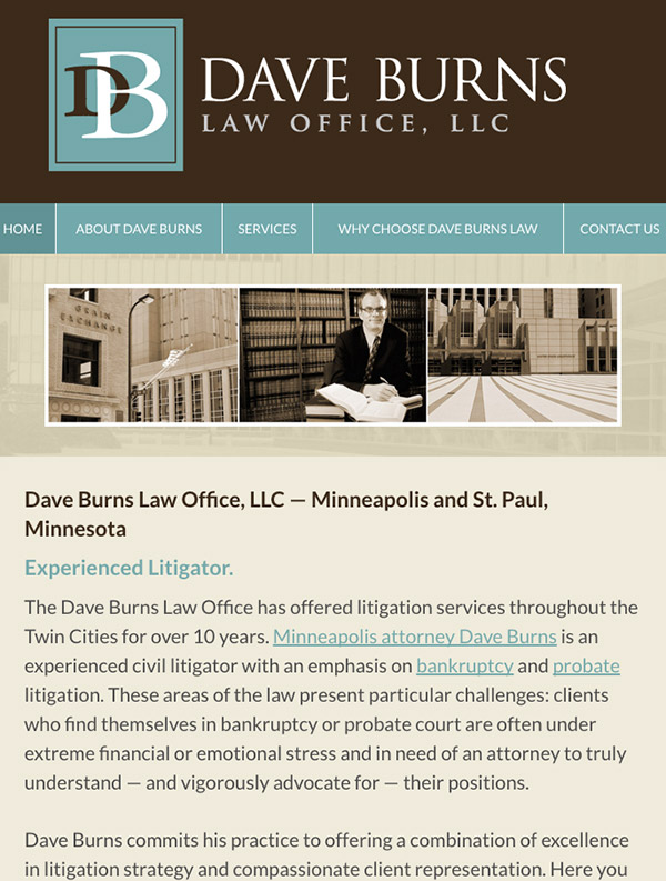 Mobile Friendly Law Firm Webiste for Dave Burns Law