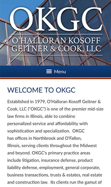 Responsive Mobile Attorney Website for O'Halloran Kosoff Geitner & Cook, LLC