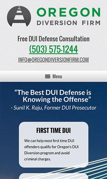 Responsive Mobile Attorney Website for Oregon Diversion Firm