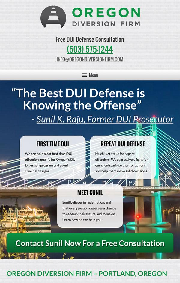 Mobile Friendly Law Firm Webiste for Oregon Diversion Firm