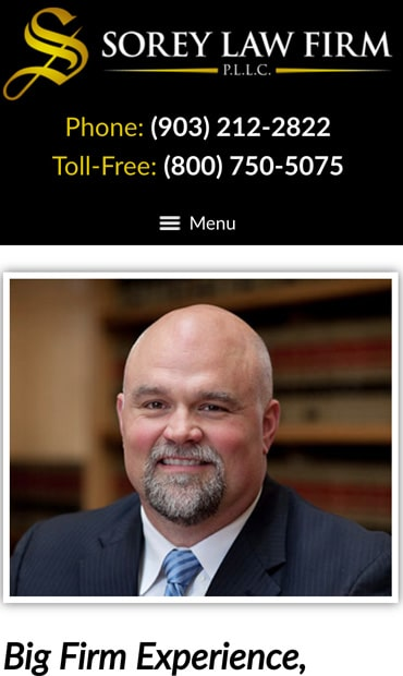 Responsive Mobile Attorney Website for The Sorey Law Firm, PLLC