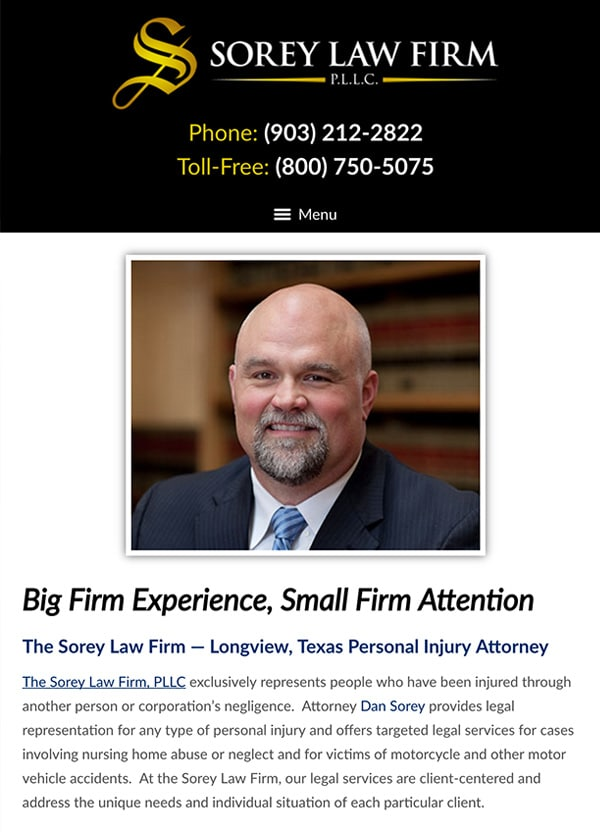 Mobile Friendly Law Firm Webiste for The Sorey Law Firm, PLLC
