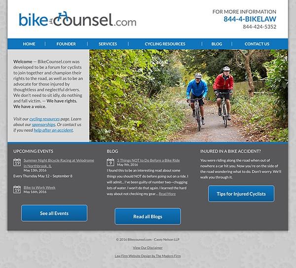Law Firm Website Design for Bikecounsel.com - Casey Nelson LLP