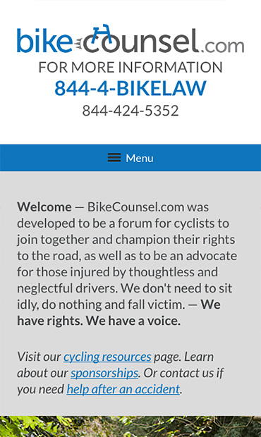 Responsive Mobile Attorney Website for Bikecounsel.com - Casey Nelson LLP