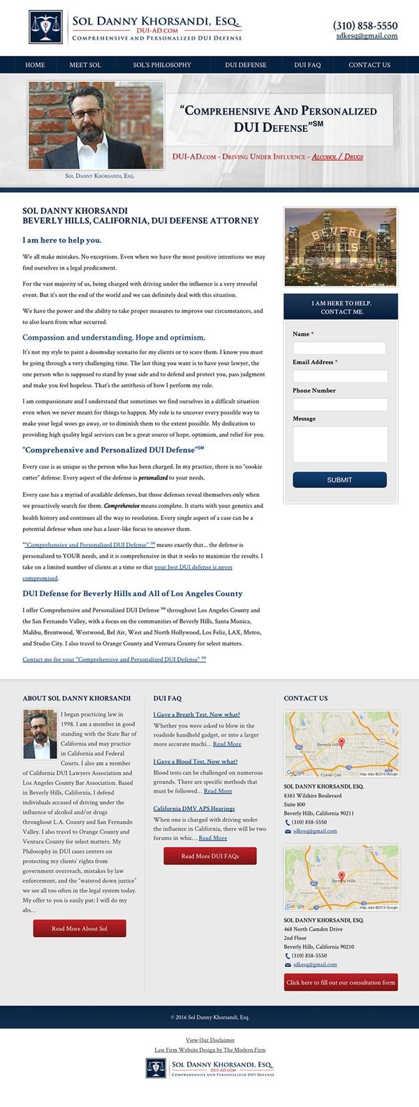 Law Firm Website Design for Sol Danny Khorsandi, Esq.