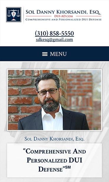 Responsive Mobile Attorney Website for Sol Danny Khorsandi, Esq.