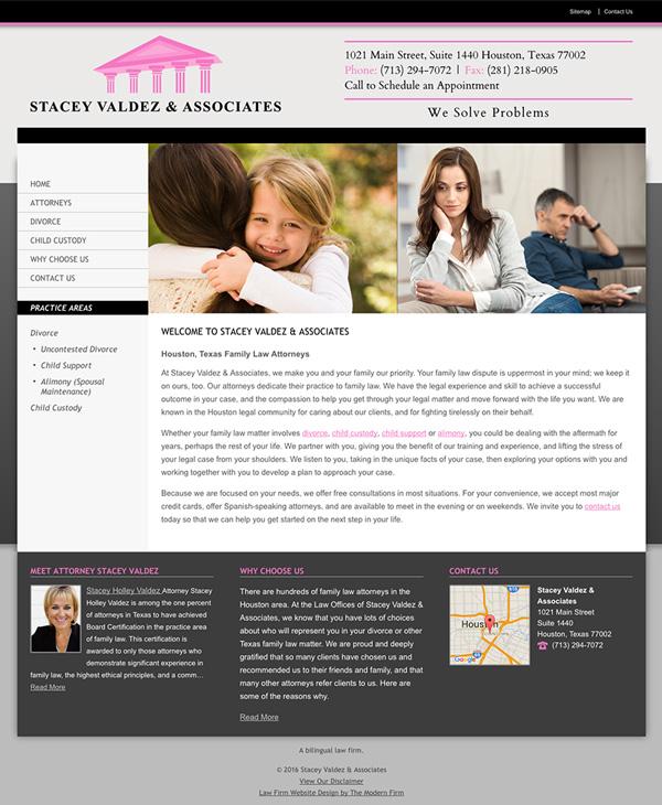 Law Firm Website Design for Stacey Valdez & Associates
