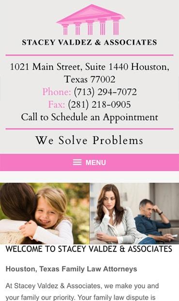Responsive Mobile Attorney Website for Stacey Valdez & Associates