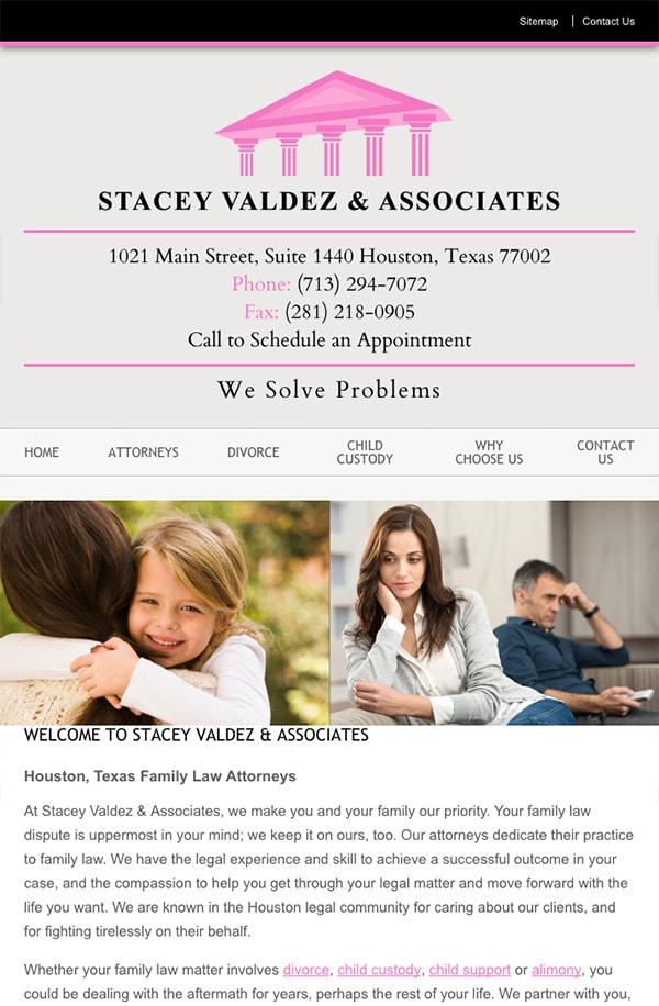 Mobile Friendly Law Firm Webiste for Stacey Valdez & Associates