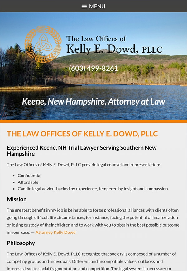 Mobile Friendly Law Firm Webiste for The Law Offices of Kelly E. Dowd, PLLC