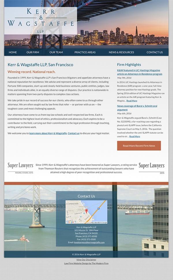 Law Firm Website Design for Kerr & Wagstaffe LLP
