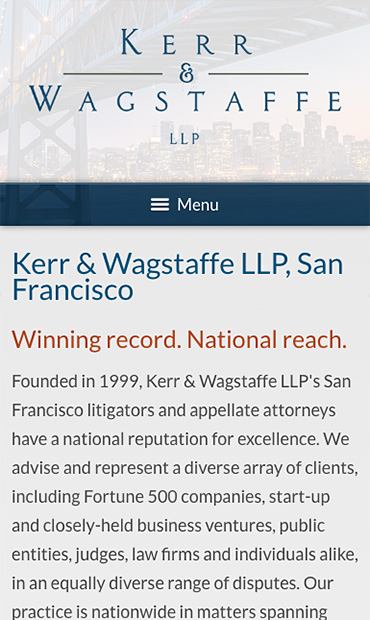 Responsive Mobile Attorney Website for Kerr & Wagstaffe LLP