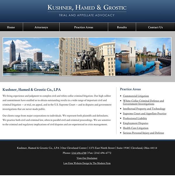 Law Firm Website Design for Kushner, Hamed & Grostic Co., LPA