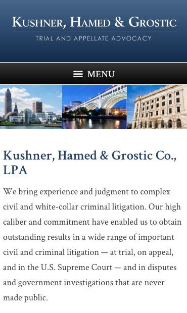 Responsive Mobile Attorney Website for Kushner, Hamed & Grostic Co., LPA