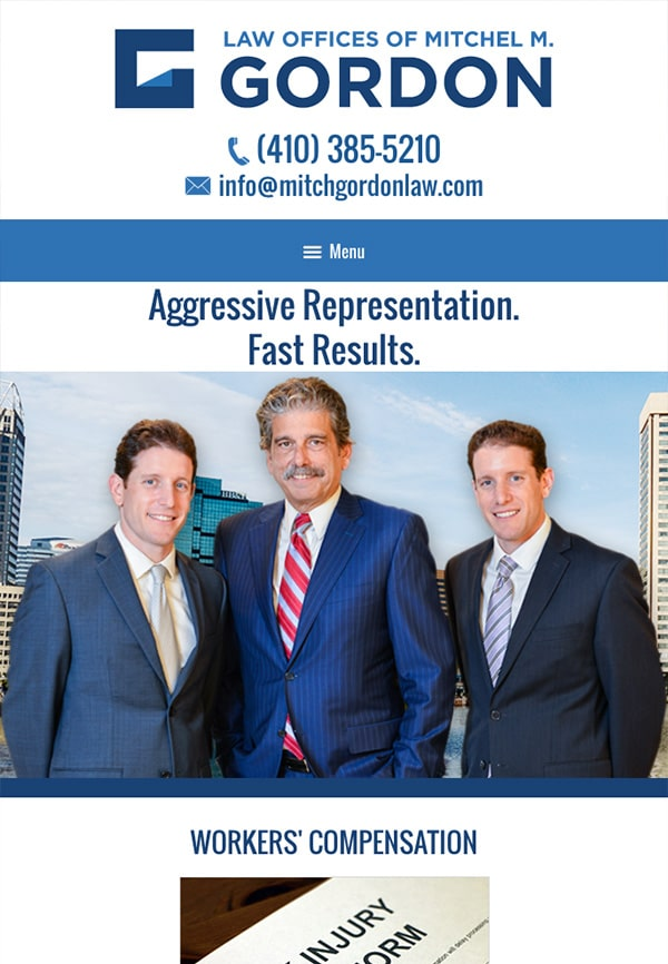 Mobile Friendly Law Firm Webiste for Law Offices of Mitchel M. Gordon