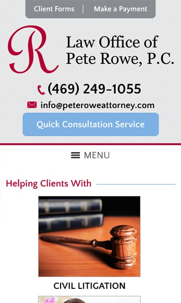 Responsive Mobile Attorney Website for Law Office of Pete Rowe, P.C.