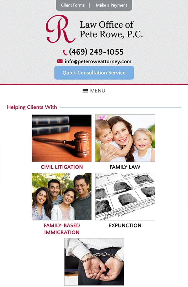 Mobile Friendly Law Firm Webiste for Law Office of Pete Rowe, P.C.