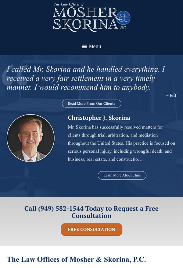 Mobile Friendly Law Firm Webiste for The Law Offices of Mosher & Skorina, P.C.