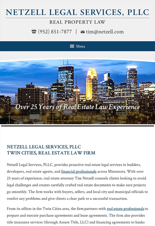 Mobile Friendly Law Firm Webiste for Netzell Legal Services, PLLC